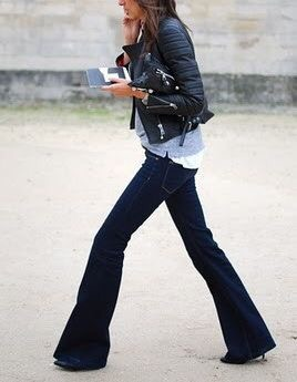 Flared Jeans Leather Jacket